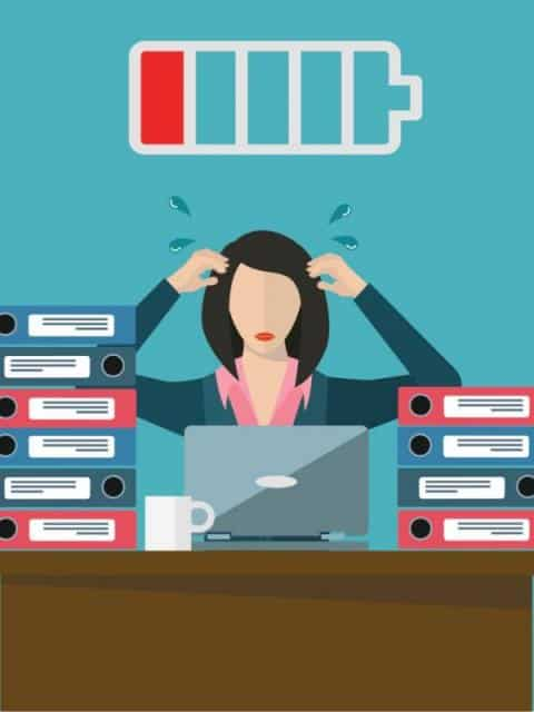 overworked-female-employee-low-on-energy-vector-concept-vector-id838121356
